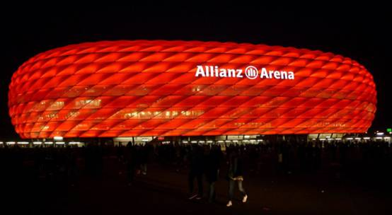 Allianz Arena Night View with Blue Light